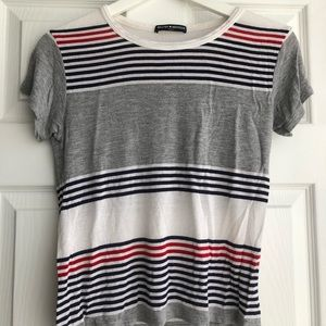 Brandy Melville blue red and white striped top.
